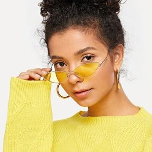 Accessories - 438-Yellow Tinted Lens Cat Eye Sunglasses